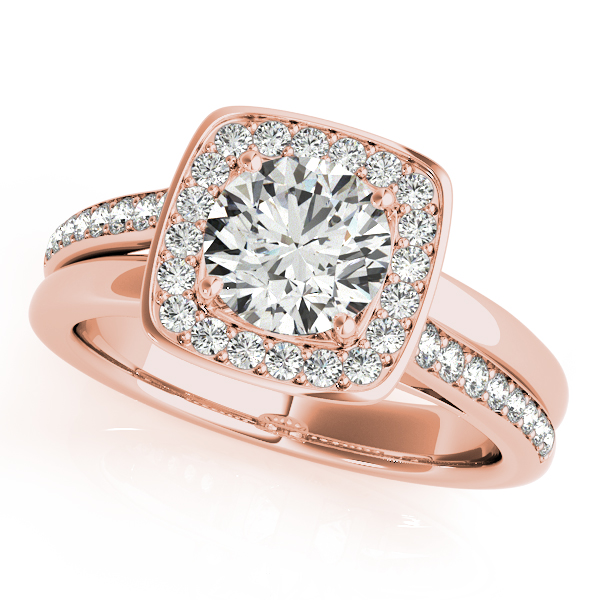 Engagement Rings - 14K Rose Gold Round Halo Engagement Ring