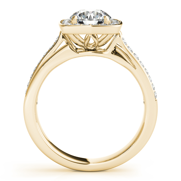 Diamond Engagement Rings - 14K Yellow Gold Round Halo Engagement Ring - image #2