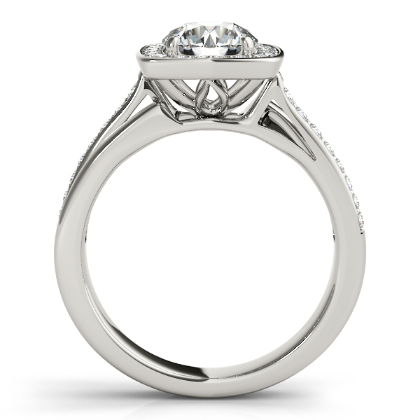 Engagement Rings - 18K White Gold Round Halo Engagement Ring - image 2