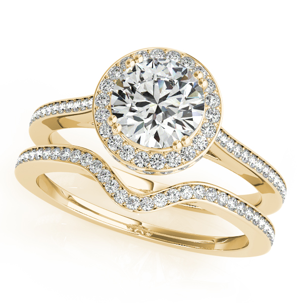 Engagement Rings - 10K Yellow Gold Round Halo Engagement Ring - image #3