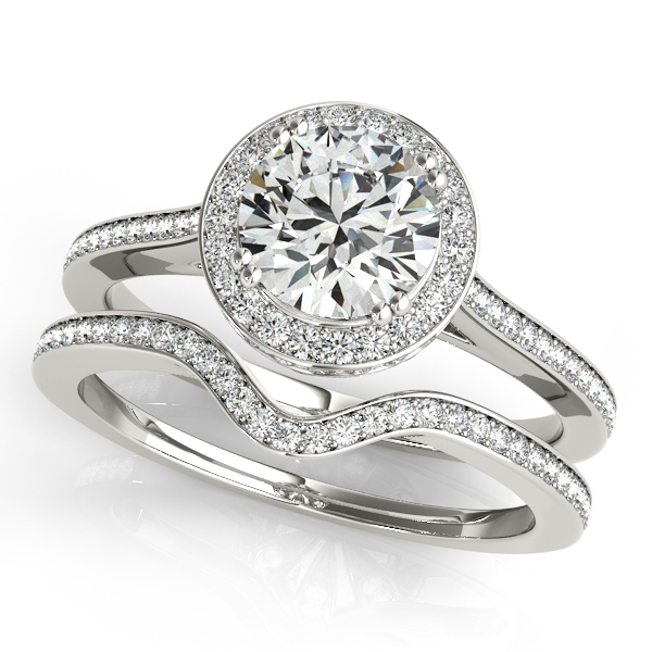 Engagement Rings - 10K White Gold Round Halo Engagement Ring - image 3