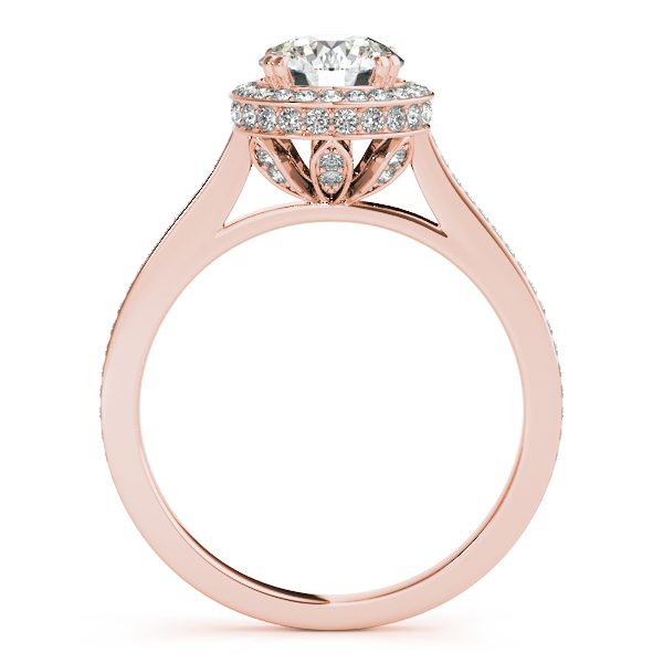 Engagement Rings - 14K Rose Gold Round Halo Engagement Ring - image 2