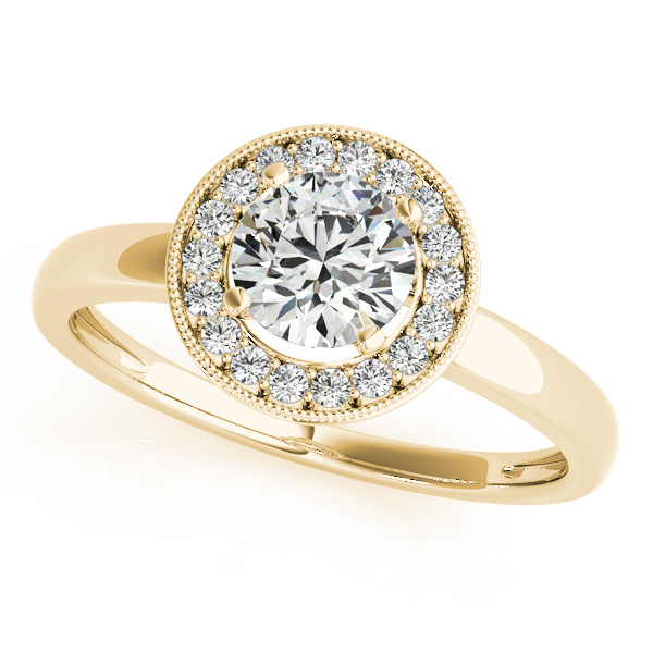 Diamond Engagement Rings - 14K Yellow Gold Round Halo Engagement Ring