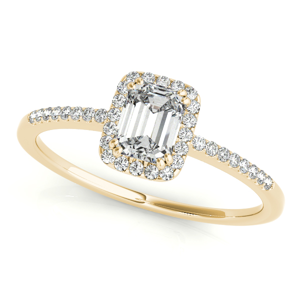 Engagement Rings - 10K Yellow Gold Emerald Halo Engagement Ring