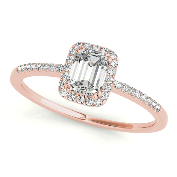 Engagement Rings - 14K Rose Gold Emerald Halo Engagement Ring