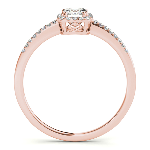 Diamond Engagement Rings - 18K Rose Gold Emerald Halo Engagement Ring - image 2