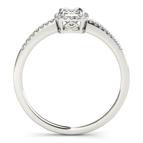 Diamond Engagement Rings - Platinum Emerald Halo Engagement Ring - image 2