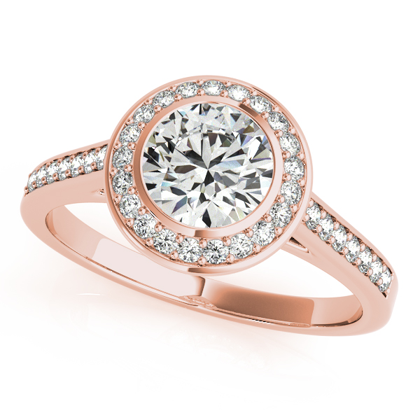 Diamond Engagement Rings - 14K Rose Gold Round Halo Engagement Ring