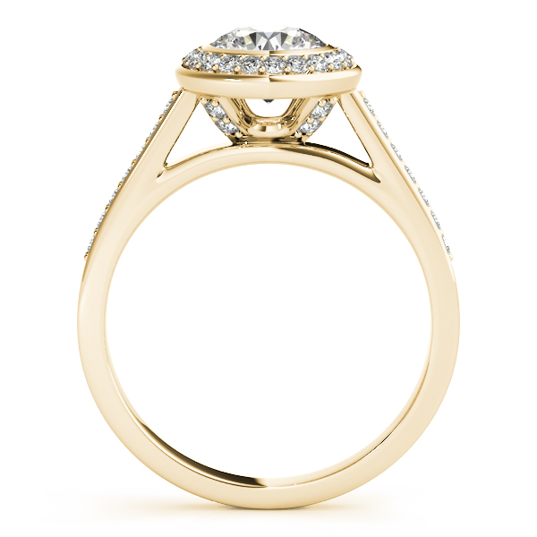 Engagement Rings - 14K Yellow Gold Round Halo Engagement Ring - image 2