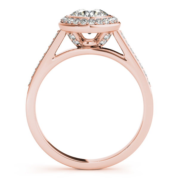 Engagement Rings - 14K Rose Gold Round Halo Engagement Ring - image #2