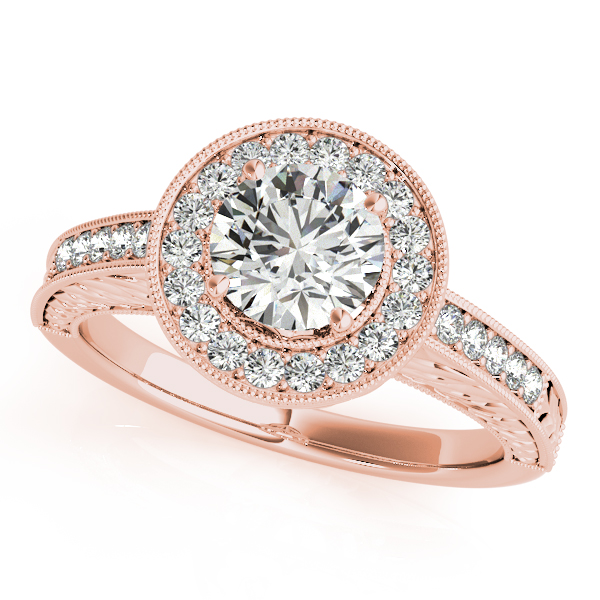 Rings - 10K Rose Gold Round Halo Engagement Ring