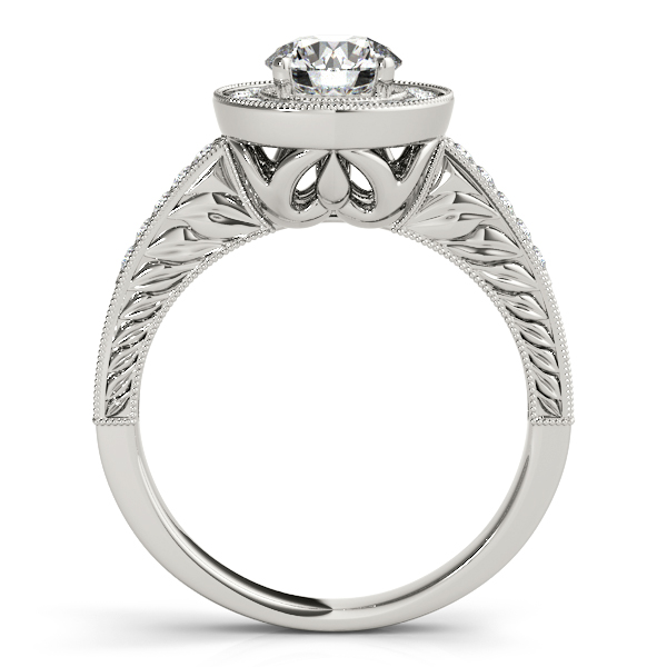 Diamond Engagement Rings - 18K White Gold Round Halo Engagement Ring - image #2