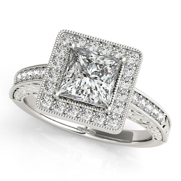 79d6ce61d45b0 Platinum Halo Engagement Ring