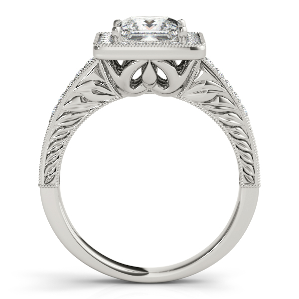 Rings - 18K White Gold Halo Engagement Ring - image #2