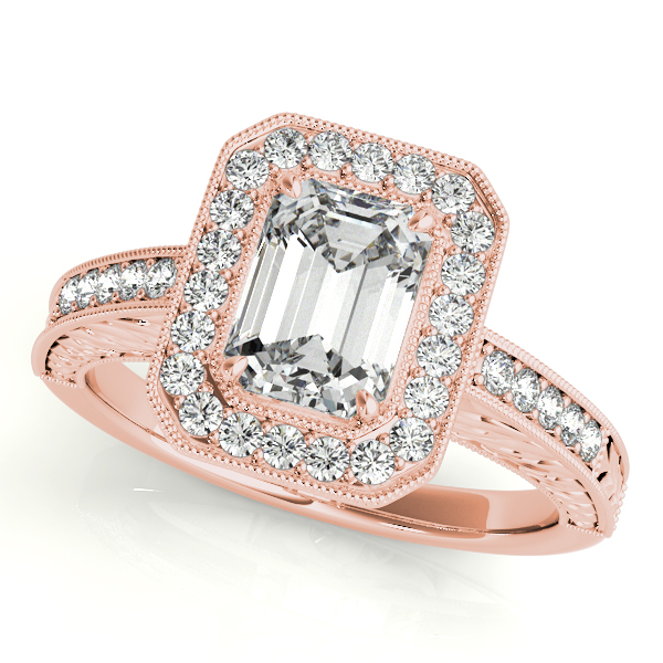 Engagement Rings - 10K Rose Gold Emerald Halo Engagement Ring