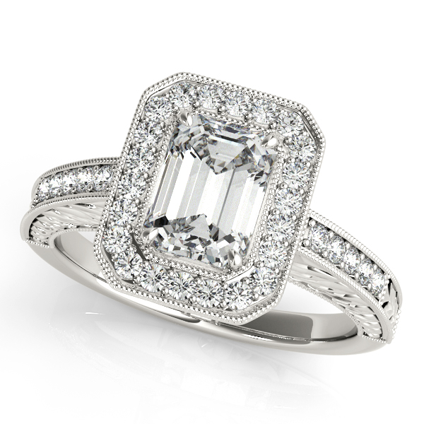Diamond Engagement Rings - Platinum Emerald Halo Engagement Ring