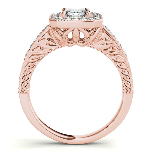 Engagement Rings - 18K Rose Gold Emerald Halo Engagement Ring - image #2
