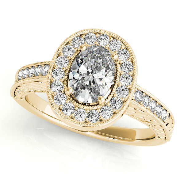 Engagement Rings - 18K Yellow Gold Oval Halo Engagement Ring