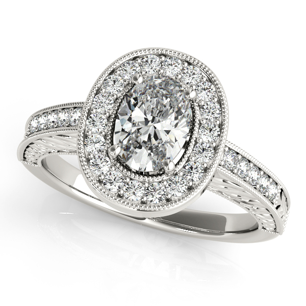 Engagement Rings - 18K White Gold Oval Halo Engagement Ring