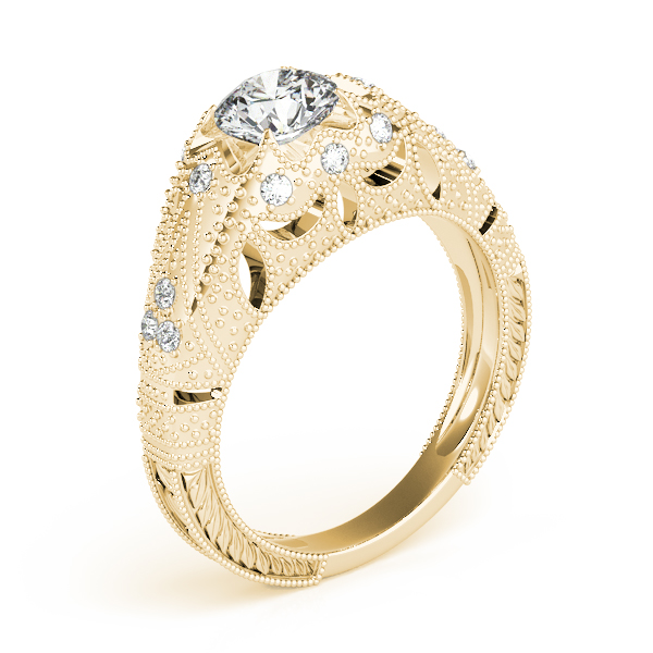 Diamond Engagement Rings - 14K Yellow Gold Antique Engagement Ring - image #3