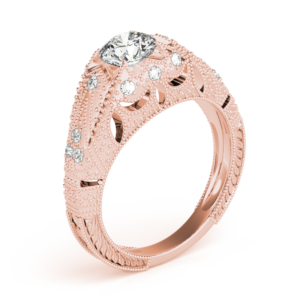 Diamond Engagement Rings - 18K Rose Gold Antique Engagement Ring - image #3