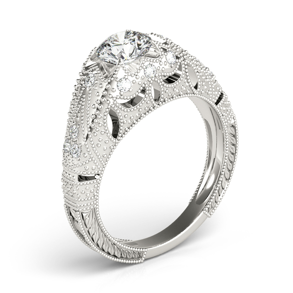 Diamond Engagement Rings - Platinum Antique Engagement Ring - image 3