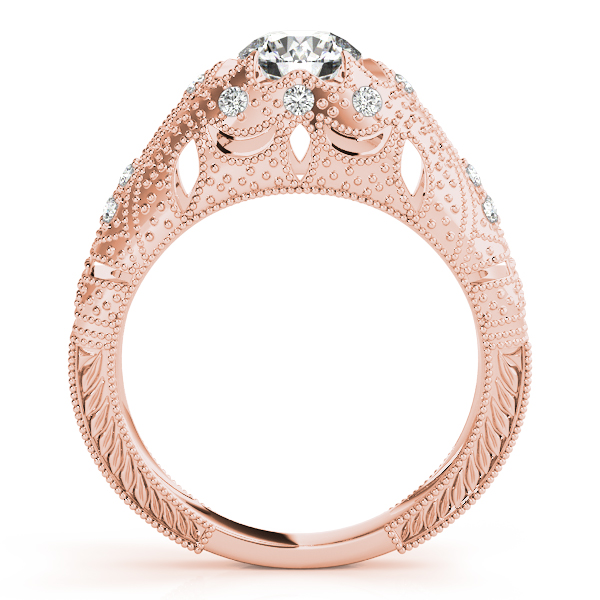 Rings - 18K Rose Gold Antique Engagement Ring - image #2