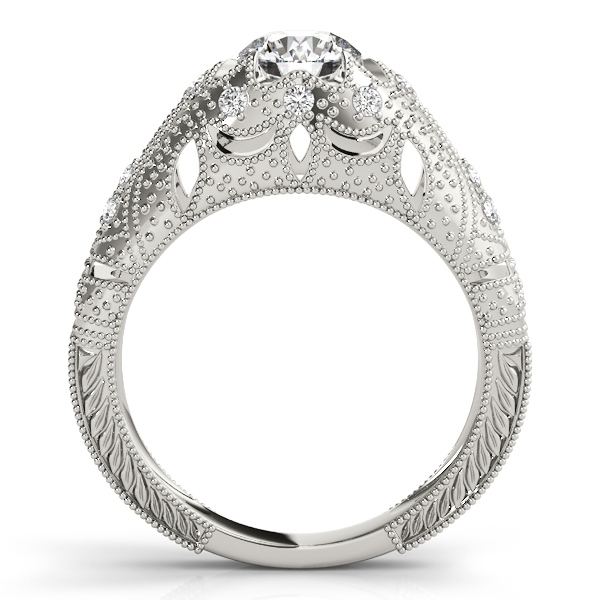 Diamond Engagement Rings - Platinum Antique Engagement Ring - image #2