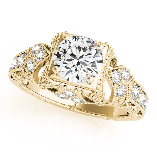 Diamond Engagement Rings - 14K Yellow Gold Antique Engagement Ring