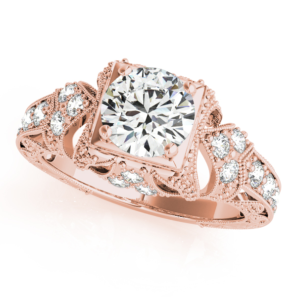 Engagement Rings - 18K Rose Gold Antique Engagement Ring