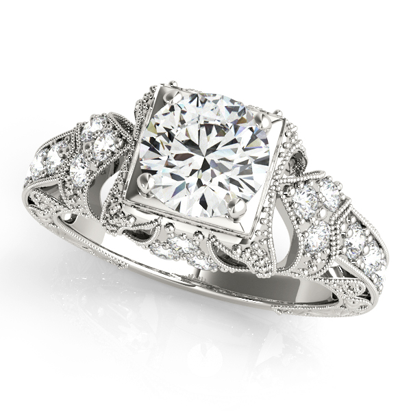 Diamond Engagement Rings - 14K White Gold Antique Engagement Ring