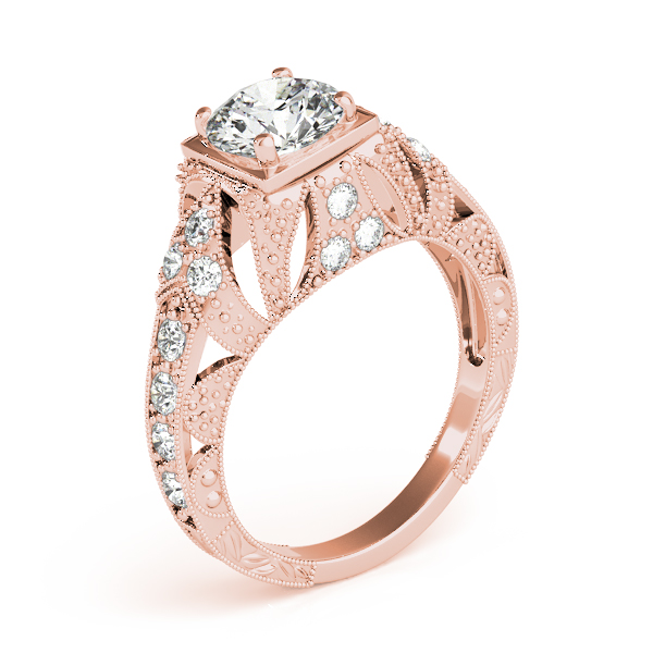 Engagement Rings - 18K Rose Gold Antique Engagement Ring - image #3