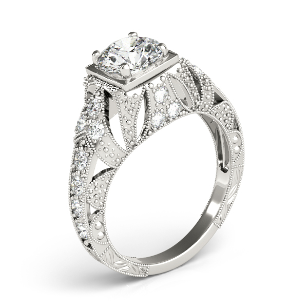 Engagement Rings - 18K White Gold Antique Engagement Ring - image 3