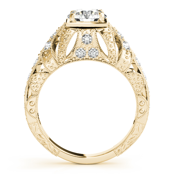 Diamond Engagement Rings - 18K Yellow Gold Antique Engagement Ring - image #2