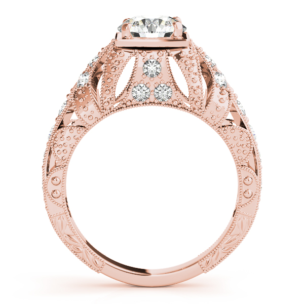 Engagement Rings - 18K Rose Gold Antique Engagement Ring - image #2