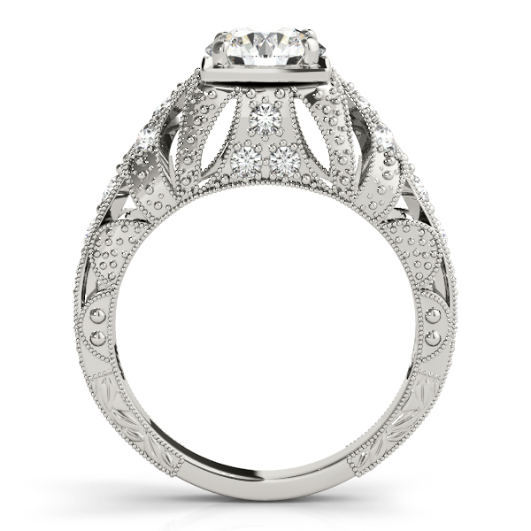 Diamond Engagement Rings - 10K White Gold Antique Engagement Ring - image #2