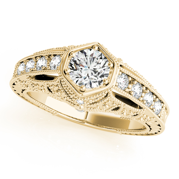 Engagement Rings - 18K Yellow Gold Antique Engagement Ring