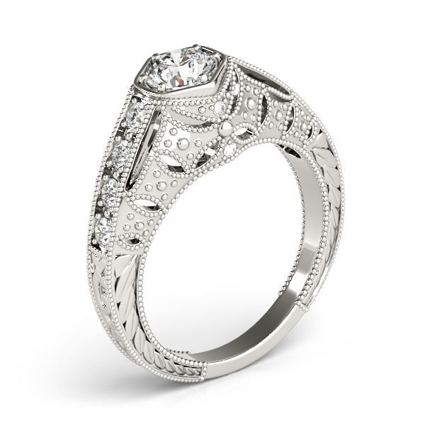 Engagement Rings - 18K White Gold Antique Engagement Ring - image #3
