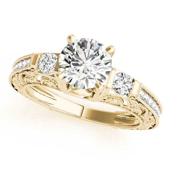 Diamond Engagement Rings - 18K Yellow Gold Antique Engagement Ring