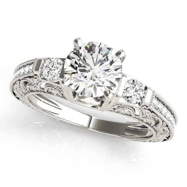 Diamond Engagement Rings - 18K White Gold Antique Engagement Ring