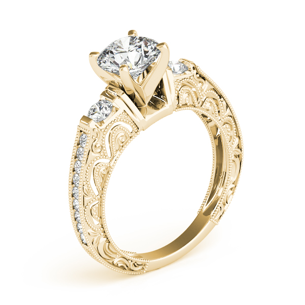 Diamond Engagement Rings - 10K Yellow Gold Antique Engagement Ring - image 3