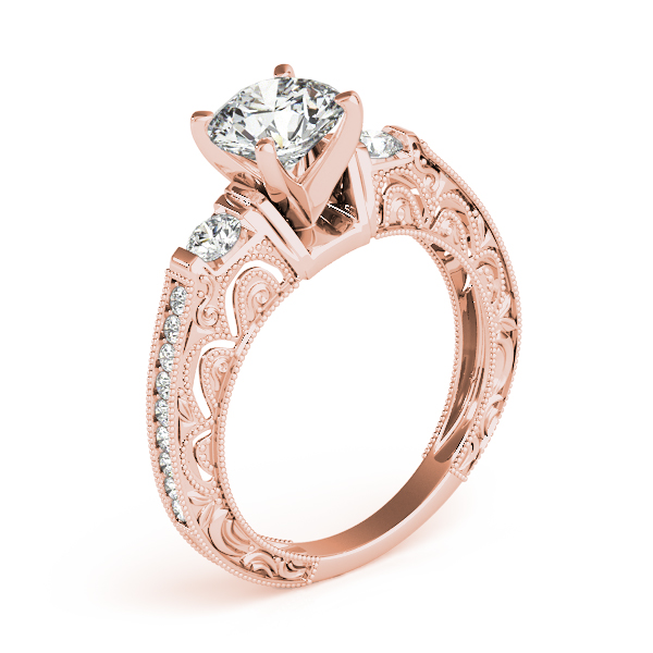 Diamond Engagement Rings - 14K Rose Gold Antique Engagement Ring - image 3
