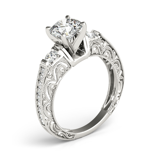 Rings - 18K White Gold Antique Engagement Ring - image 3