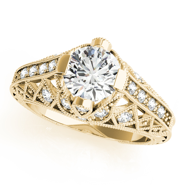 Diamond Engagement Rings - 10K Yellow Gold Antique Engagement Ring