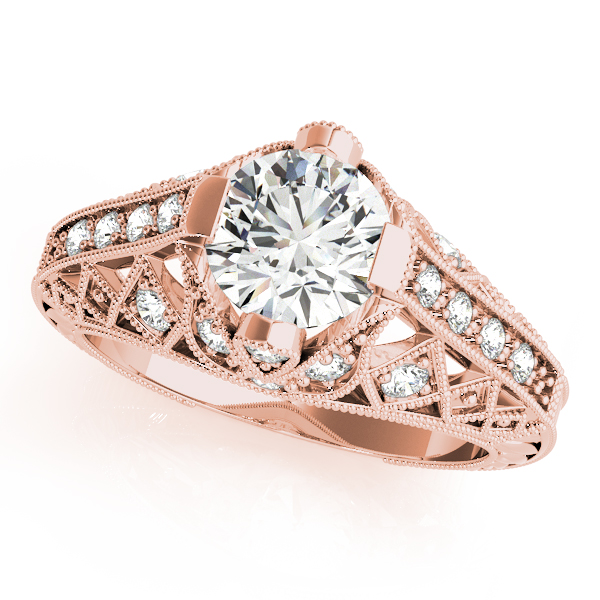 Diamond Engagement Rings - 18K Rose Gold Antique Engagement Ring