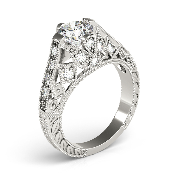 Diamond Engagement Rings - 14K White Gold Antique Engagement Ring - image 3