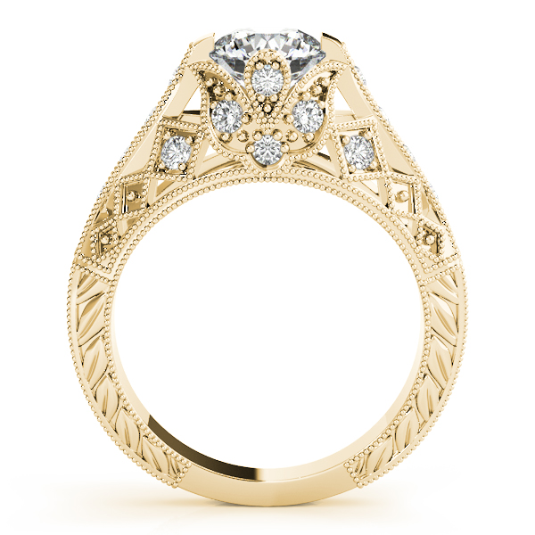 Diamond Engagement Rings - 10K Yellow Gold Antique Engagement Ring - image #2