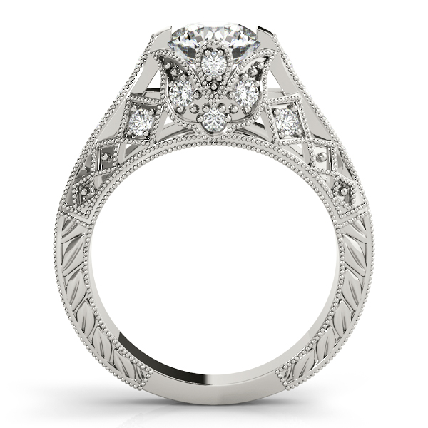 Diamond Engagement Rings - 14K White Gold Antique Engagement Ring - image #2