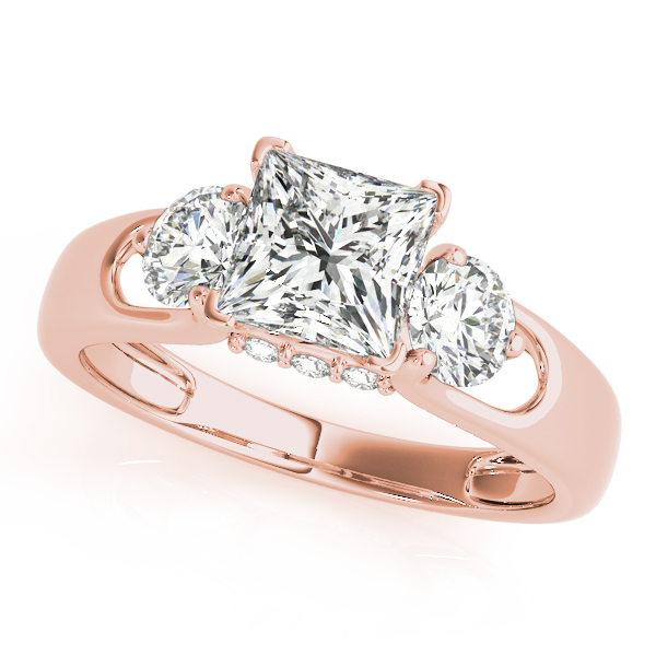 Diamond Engagement Rings - 14K Rose Gold Three-Stone Round Engagement Ring