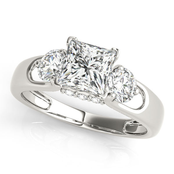 Diamond Engagement Rings - 18K White Gold Three-Stone Round Engagement Ring